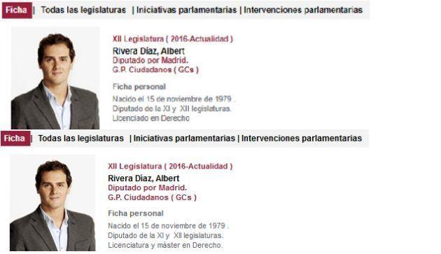 Ciudadanos modifica el currículum de Rivera en la web del