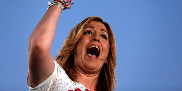 Susana Diaz, presidenta de la Junta de Andalucía, durante un acto en Sevilla en las elecciones generales...