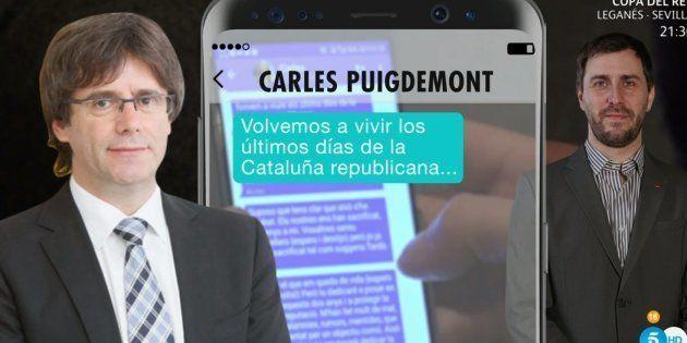Montaje de los mensajes entre Carles Puigdemont y Toni