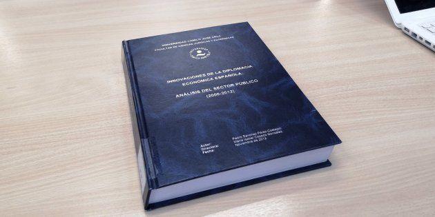 Portada de la tesis doctoral del presidente del Gobierno, Pedro Sánchez, en la Universidad Camilo José