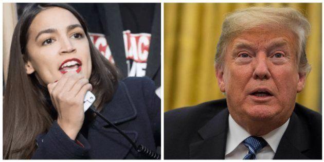 Combo con las imágenes de Alexandria Ocasio-Cortez y Donald