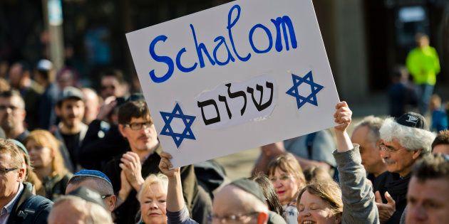 Manifestación contra el antisemitismo en Colonia, en abril, tras el ataque a unos jóvenes con kipá