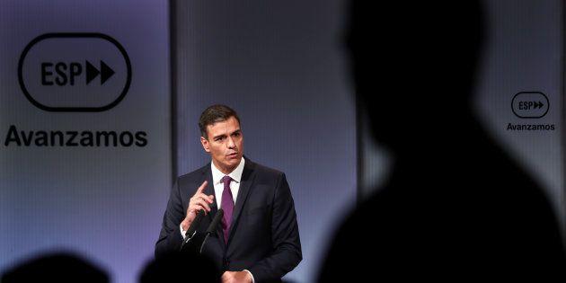 Pedro Sánchez, durante el discurso con motivo del cumplimiento de sus primeros 100 días de