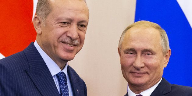 Vladimir Putin y Recep Tayyip Erdogan, este lunes, reunidos en Sochi