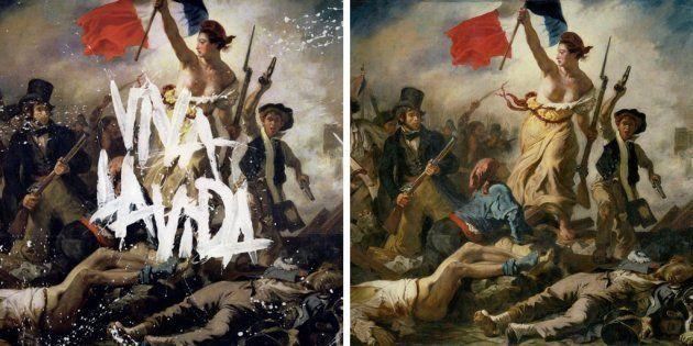 A la izquierda, 'Viva la vida', de Coldplay (2008). A la derecha, 'La libertad guiando al pueblo', de...