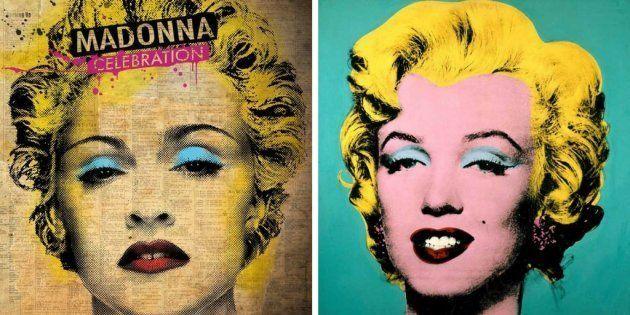 A la izquierda, 'Celebration', de Madonna (2009). A la derecha, 'Marilyn', de Andy Warhol