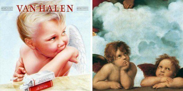 A la izquierda, '1984', de Van Halen (1984). A la derecha, 'Ángeles', de Rafael Sanzio
