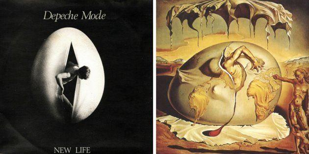 A la izquierda, 'New life', de Depeche Mode (1981). A la derecha, 'Niño geopolítico observando el nacimiento...