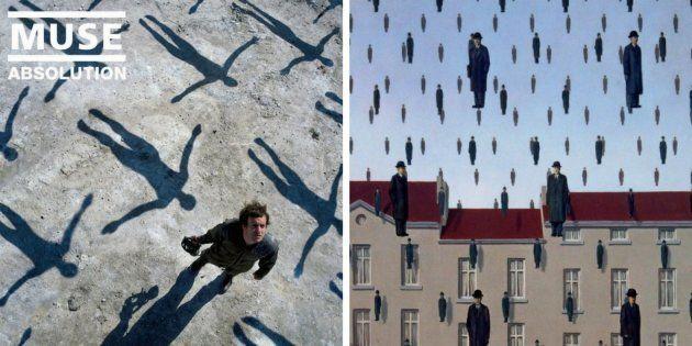 A la izquierda, 'Absolution', de Muse (2003). A la derecha, 'Golconda', de René Magritte