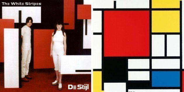 A la izquierda, 'De Stijl', de White Stripes (2000). A la derecha, 'Composición en rojo, azul y amarillo',...