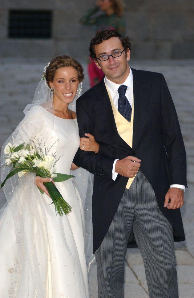 Ana Aznar y Alejandro Agag tras su boda en San Lorenzo de El