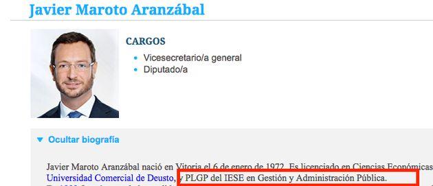 El PP borra de su página web un máster de Maroto que nunca