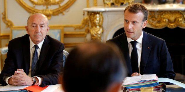 Imagen de archivo del presidente francés, Emmanuel Macron, y su ministro del Interior, Gerard