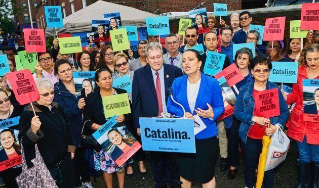 Catalina Cruz durante un acto de