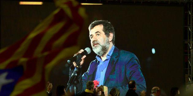 Jordi Sànchez interviene mediante un vídeo durante la
