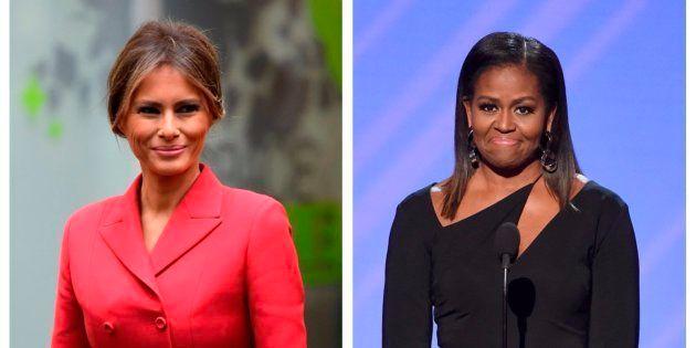 Montaje con las fotos de la actual primera dama de EEUU (izq), Melania Trump, y su predecesora en el...
