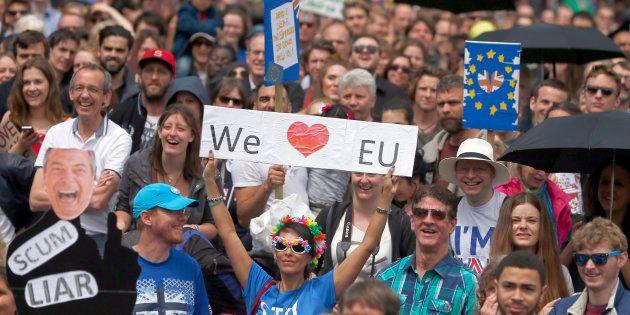Una manifestación en Londres a favor de la permanencia del Reino Unido en la