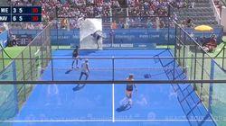 Un jugador español de pádel da el susto al romper el cristal de la pista en un torneo en