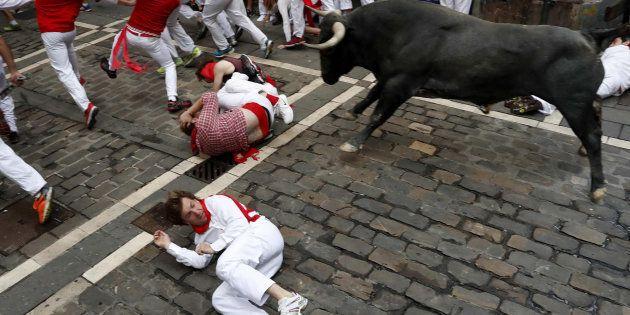 Un toro, a su paso por la curva de Mercaderes en el último encierro de los Sanfermines