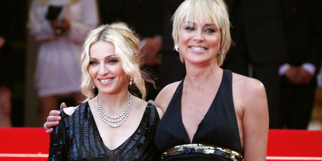 Madonna y Sharon Stone en el Festival de Cannes, en mayo de