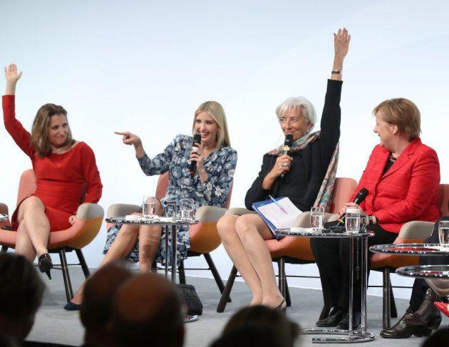 Chrystia Freeland, ministra de Asuntos Exteriores de Canadá; Ivanka Trump, Christine Lagarde y Angela