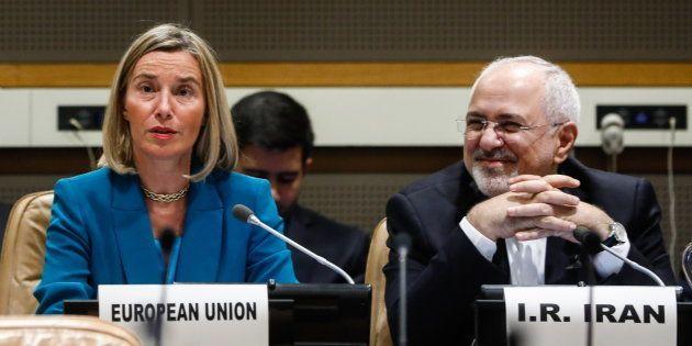Federica Mogherini y Mohammad Javad Zarif, reunidos en Nueva