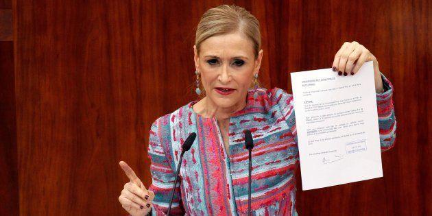 La presidenta madrileña, Cristina Cifuentes, en la