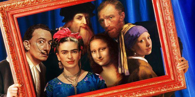 Salvador Dalí, Leonardo Da Vinci, Vicent Van Gogh, Frida Kahlo, la Mona Lisa y la Joven de la Perla son...