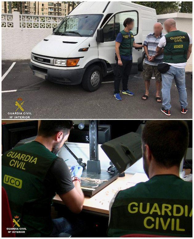 Combo de fotos facilitadas por la Guardia Civil sobre la