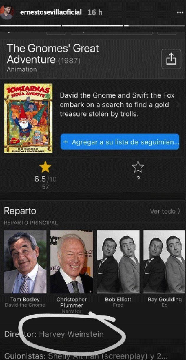 Ernesto Sevilla descubre que Harvey Weinstein dirigió 'The Gnomes' Great