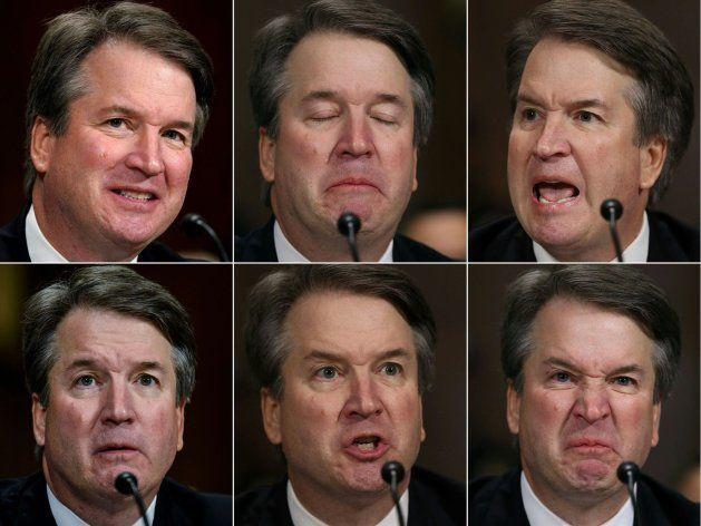 Combo con las caras de Kavanaugh durante su