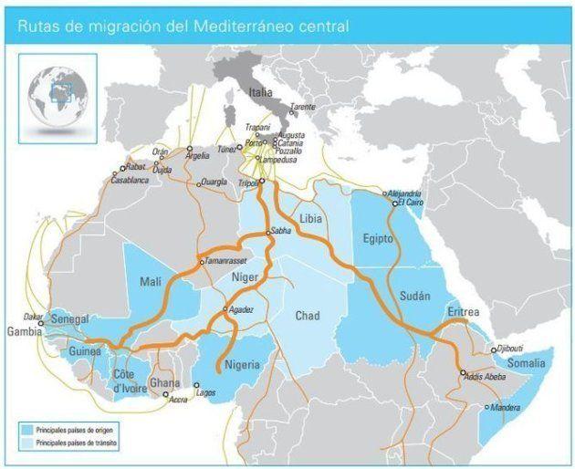 Mapa de las rutas de migración en el Mediterráneo central, elaborado por