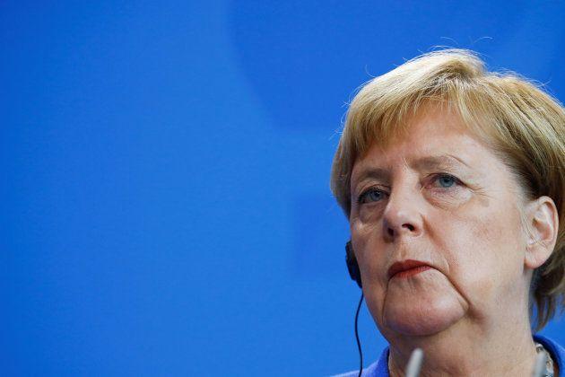 La canciller alemana durante la rueda de prensa
