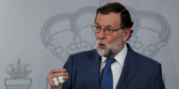 Mariano Rajoy, presidente del Gobierno, en una rueda de prensa en el palacio de La
