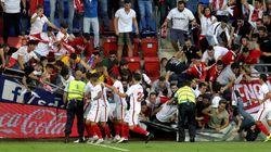 Susto en Ipurúa: una grada del estadio se viene abajo durante la celebración de un gol del