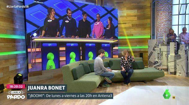 Juanra Bonet ('¡Boom!') revela en 'Liarla Pardo' cuál es la debilidad de 'Los