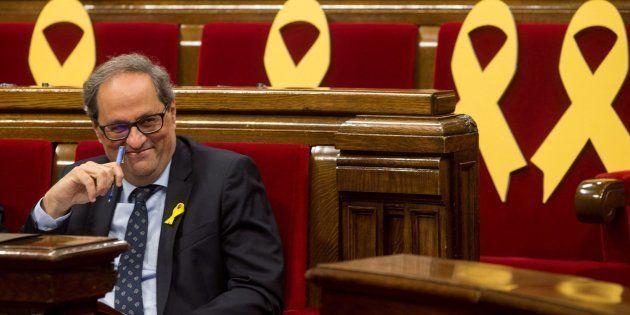 El presidente de la Generalitat, Quim Torra, durante una sesión de control en el