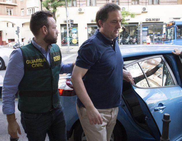 Gorka Villar, a su llegada al despacho de Sport Advisers, de la que es administrador, para un registro...