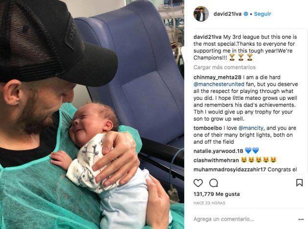 David Silva emociona con una foto junto a su hijo