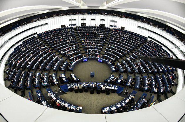 Vista del Parlamento Europeo antes del discurso de