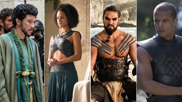 De izquierda a derecha: Hizdahr zo Loraq (Joel Fry); Missandei (Nathalie Emmanuel); Khal Drogo (Jason...