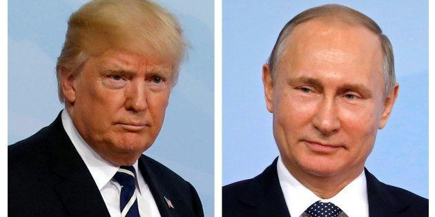 El presidente de EEUU, Donald Trump (izq) y su homólogo ruso, Vladimir Putin (der) en un combo de