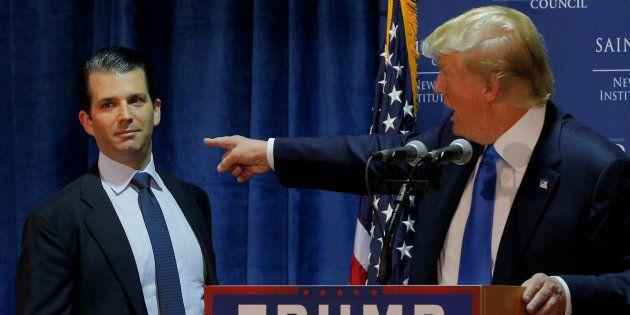 Imagen de archivo del presidente de EEUU, Donald Trump, con su primogénito, Donald Trump