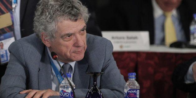 Ángel María Villar, durante el Congreso Extraordinario de la Conmebol celebrado en 2016 en Ciudad de