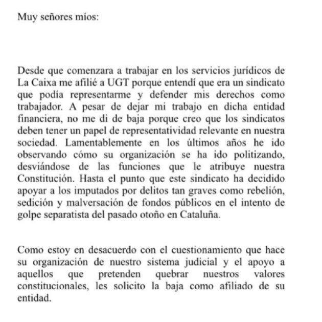 Rivera se da de baja de UGT por apoyar a los imputados por