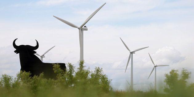 Un anuncio del toro de Osborne junto al parque eólico de La Plana de Siemens Gamesa cerca de