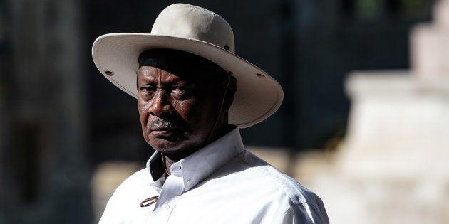 El presidente de Uganda Yoweri Museveni en el castillo de Windsor, en