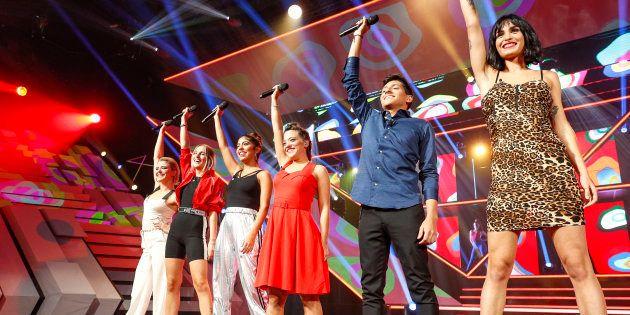 Los concursantes, durante la segunda gala de 'Operación Triunfo' el 3 de octubre de 2018 en