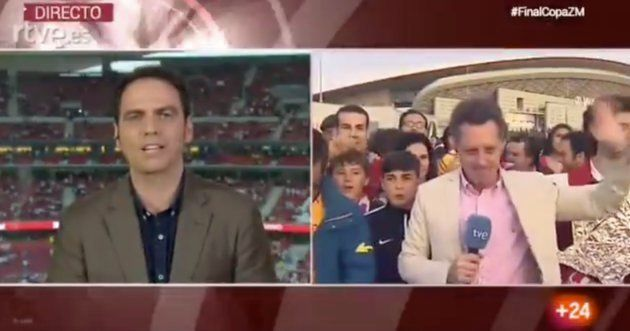 La tremenda pillada a este periodista de TVE en la previa de la final de la Copa del