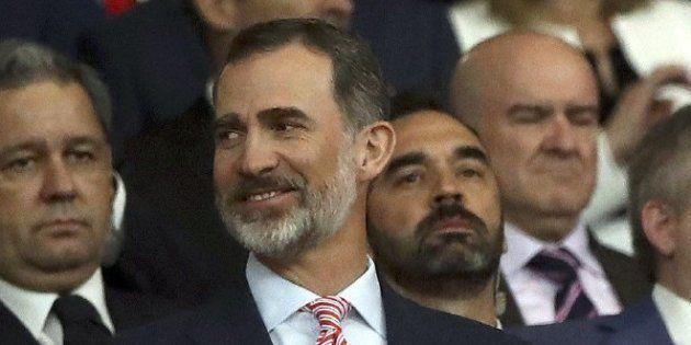La cara del rey Felipe durante la pitada al himno de